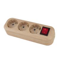 Колодка 3 гнезда, с/з и выключателем, 16А, 230В, ABS-пластик, сосна