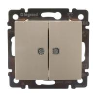 Выключатель в рамку с/у Legrand Valena 695630, 2 клавиши, 10А, 230В, IP20, бежевый